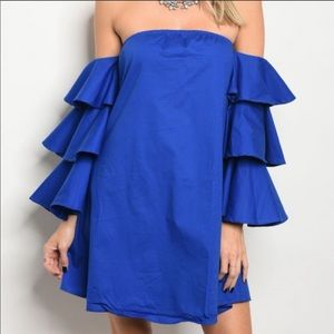 Dresses & Skirts - Long ruffled sleeve off the shoulder dress
